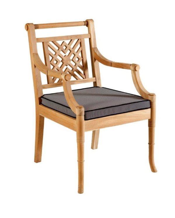 Portofino Outdoor Teak Carver Chair with Cushion