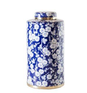 Cherry Blossom Tall Ceramic Jar