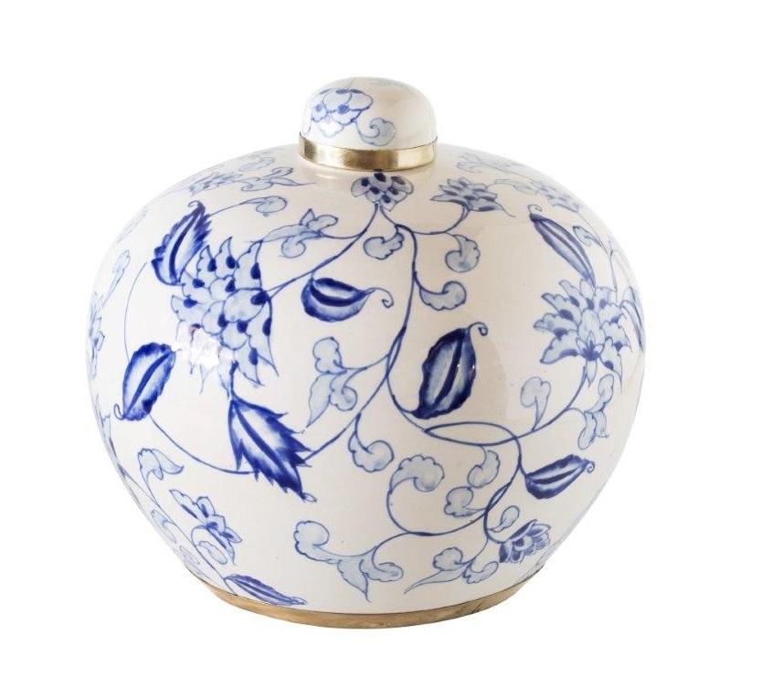Ginger Flower Round Ceramic Jar
