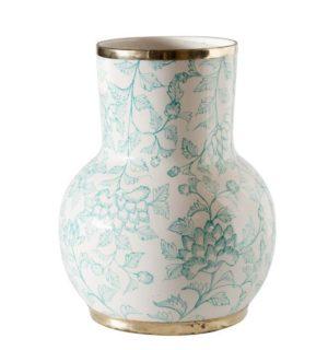Teal Hibiscus Ceramic Vase